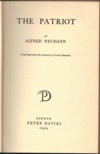NEUMANN, Alfred. (Translated by Cyrus Brooks).