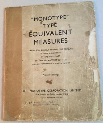 THE MONOTYPE CORPORATION LIMITED.
